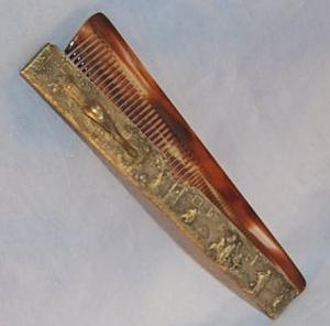 Colorful Personal Comb in Comb Holder with Decorative Country Scene - Misc.