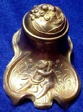 Cherubs Inkwell  Ink Well - Metalware