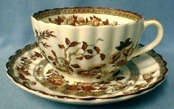 INDIAN TREE Cup and Saucer Vintage Copeland Spode England  - pottery porcelain - India Tree