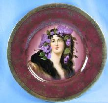 Vienna Portrait  Plate - Victorian  Victorian Maiden with Flowing Hair Decorated with Lilacs