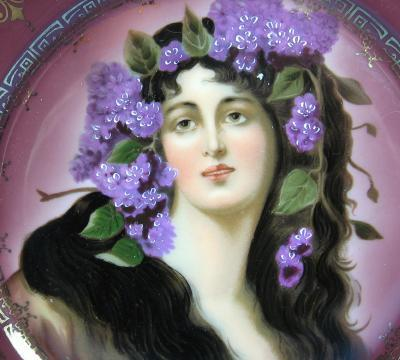 Vienna Portrait  Plate - Victorian Maiden with Flowing Hair Decorated with Lilacs