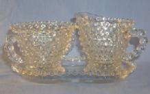 Duncan Glass Crystal HOBNAIL  Pattern -  Creamer & Sugar with Tray