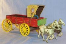 Tin Toy Northwestern Horse Drawn Buckboard W/Driver Canopy.