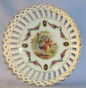 Porcelain German Bowl With Roses and a Victorian Couple Decorated  Lacework