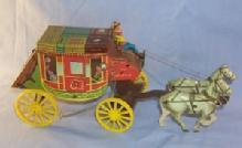 Tin Toy Northwestern Stage Lines Horse Drawn Stage Coach.