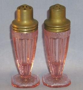 Pink Adam Pattern Depression Glass Salt And Pepper  Shakers