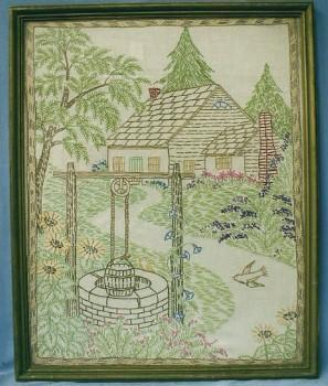 vintage Framed Embroidery - Arts & Crafts Era Hand