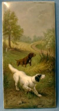 Hunting Dog Painting on Porcelain Plaque