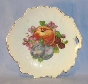 Porcelain  Occupied Japan Leaf Shaped Fruit Design Dresser Trays