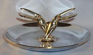 Chrome Plated Art Deco Bird Design Ashtray-Tobacciana
