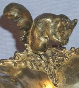 Engraved A,A Nut Bowl  Sliver Plated .4 Legged with Squirrel Figurine
