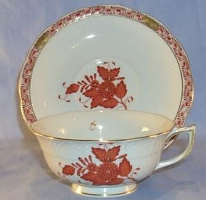 Porcelain Hungarian  Rust Colored Flower Design Cup & Saucer