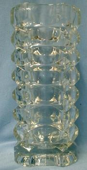 art glass  French Crystal Vase - VERY Heavy Faceted Glass