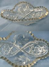 glass  BUZZ STAR American Pattern Glass Oval Relish Dish - EAPG Buzz-Star
