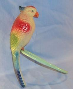 Occupied Japan  Celluloid Parrot on Ring Perch -  Toys