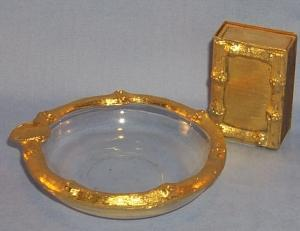 Italian  Gold Trim Matchbox Holder, Ashtray, andWooden Matchbox
