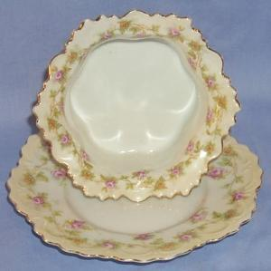 Porcelain Austrian  Pink Rose Design Custard Bowl & Plate Set, 2 Settings
