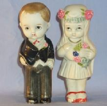 Hand Painted Bisque Porcelain Bride and Groom Figurines