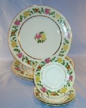 Three Occupied Japan  Porcelain Dinner Plates and Three Saucers