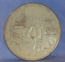 Pottery Frankoma  Oklahoma 75 Diamond Jubilee Wall Hanging Collector Plate