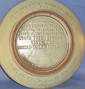 Pottery Frankoma  Oklahoma 75 Diamond Jubilee Wall Hanging Collector Plate