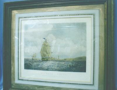 Nautical Sailing Ship and Lighthouse Print  OUTWARD