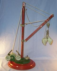 Working Toy Mechanical Steel Crane On Red Base