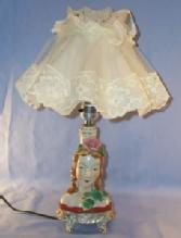 Porcelain Occupied Japan  Boudoir Electrical Lamp, Woman's Face With Flowers
