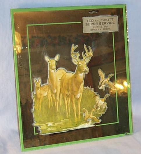 Advertising Mirror, Deer Family And Ducks