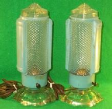 Pair Of Blue  Art Deco Boudoir Lamps.