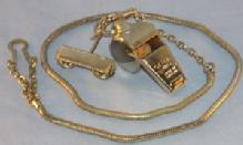 One Silver Plated Brass Police Whistle w/Lanyard Cord.