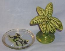 Advertisement Black Native Girl With One Monkey Glass Coaster & One Palm Tree Florida  Shaker