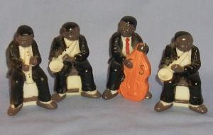 Bisque Figurines, Four Black Musician , 2 Sax, 1 Carinet And 1 Viola