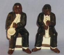 Ethnographic, Black Musicians Playing Sax And Clarinet Bisque Salt & Pepper Shakers