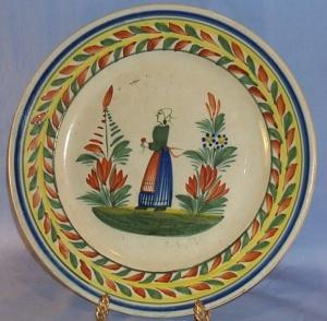 Quimper Pottery  Hand Painted - Peasant Woman Plate