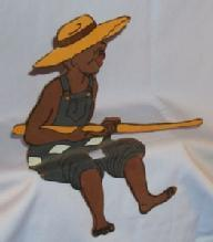 Shelf Sitter, Sheet Metal Hand Painted Black Boy Fishing