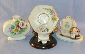 Occupied Japan Cups & Saucer -  Bud Vase With Flowers -  Bud Vase With Nude - Pottery Porcelain.