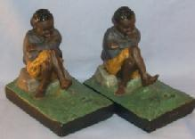Bookends Chalkware Hand Painted