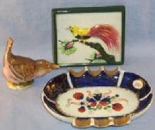 Occupied Japan Ashtray, Bird Shaker, and Bird Of Paradise Tile