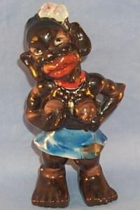 Occupied Japan Porcelain Black Aborigine Girl Figurine