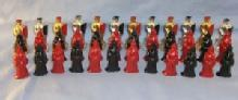 Colorful Lead Ladies And Knights Figurines 36 Pieces.