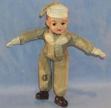 Navy Boy Doll With Celluloid Face, Hands, and Shoes