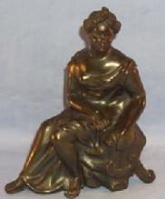 Bronze Coated Pot Metal Sitting Woman Figurine with Lyre - Metalware