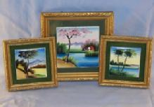 Ceramic Hand Painted  Tile Wall Plaques in Frames
