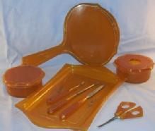Amber Bakelite Bedroom Dresser Set, Pieces