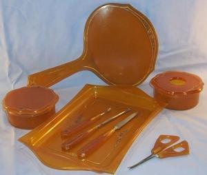 Amber Bakelite Bedroom Dresser Set, Pieces