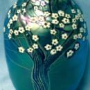 Orient & Flume Blue Hawthorn  - Vintage  Art Glass Vase -