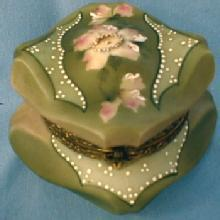 CF Monroe NAKARA Bishops Hat Covered Box  Wavecrest Wave Crest - Victorian Antique Art Glass