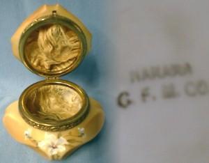 CF Monroe NAKARA Bishops Hat Art Glass - Victorian Art Glass Covered Box  CF Monroe Wave Crest EXCEPTIONAL