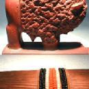 carved Native American Indian Catinite Effigy  BUFFALO - Vintage Ethnographic